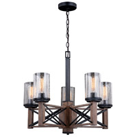 Vaxcel H0239 Colton 5 Light 25 inch Rustic Oak and Noble Bronze Chandelier Ceiling Light