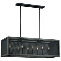 Vaxcel P0105 Wicker Park 8 Light 38 inch Warm Pewter Linear Chandelier Ceiling Light