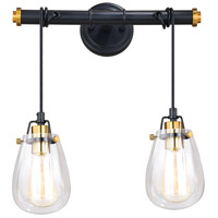 Vaxcel P0233 Kassidy 2 Light 17 inch Black and Natural Brass Pendant Ceiling Light
