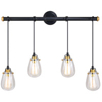 Vaxcel P0234 Kassidy 4 Light 33 inch Black and Natural Brass Pendant Ceiling Light