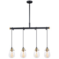 Kassidy 4 Light 33 inch Black and Natural Brass Pendant Ceiling Light
