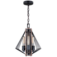 Dearborn 3 Light 13 inch Black Iron with Burnished Oak Pendant Ceiling Light