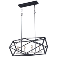 Vaxcel P0281 Hailey 4 Light 32 inch Black Graphite and Satin Nickel Linear Chandelier Ceiling Light