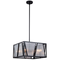 Oslo 4 Light 16 inch Black with Natural Brass Pendant Ceiling Light