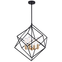 Vaxcel P0307 Rad 4 Light 24 inch Black and Natural Brass Pendant Ceiling Light