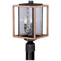 Vaxcel T0240 Modoc 3 Light 17 inch Textured Dark Bronze and Distressed Oak Outdoor Post