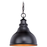 Vaxcel T0317 Delano 1 Light 11 inch Outer Oil Burnished Bronze with Inner Light Gold Outdoor Pendant
