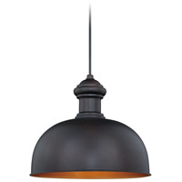 Vaxcel T0346 Franklin 1 Light 13 inch Oil Burnished Bronze and Inner Light Gold Outdoor Pendant