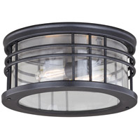 Wrightwood 2 Light 12 inch Vintage Black Outdoor Flush Mount