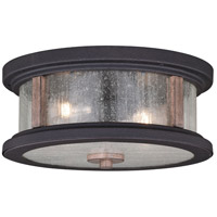 Vaxcel T0450 Cumberland 2 Light 13 inch Textured Dark Bronze and Burnished Oak Outdoor Ceiling
