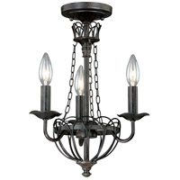 Novara 3 Light 12 inch Aged Walnut Mini Chandelier Ceiling Light