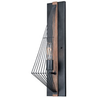 Vaxcel W0252 Dearborn 1 Light 5 inch Black Iron with Burnished Oak Wall Light