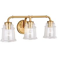 Vaxcel W0264 Toledo 3 Light 22 inch Natural Brass Bathroom Light Wall Light