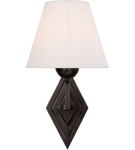 Visual Comfort AH2050GM-PL Alexa Hampton Bettina 1 Light 8 inch Gun Metal Sconce Wall Light, Alexa Hampton, Natural Percale Shade photo