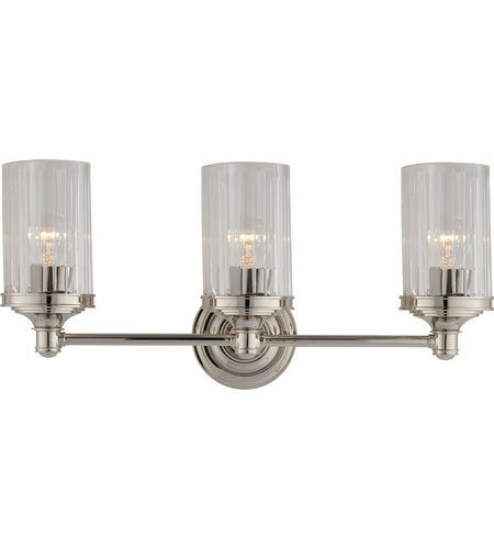Visual Comfort AH2202PN CG Alexa Hampton Ava 3 Light 20 Inch Polished  Nickel Bath Wall Light