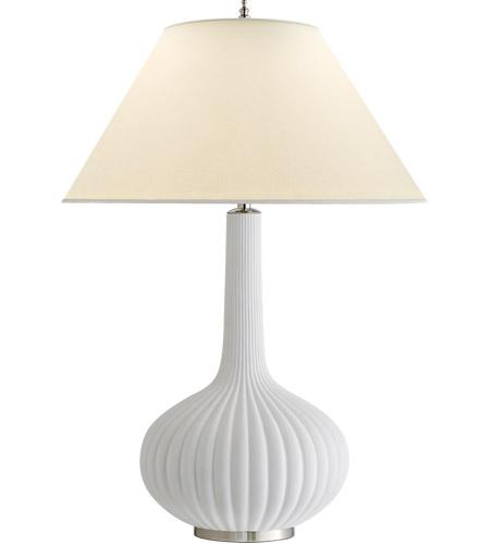 Visual Comfort AH3130WHT PL Alexa Hampton Charlotte 29 Inch 60 Watt White  Porcelain Table Lamp Portable Light, Alexa Hampton, Natural Percale Shade
