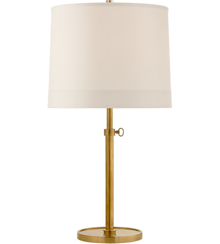 Visual Comfort BBL3023SB-S2 Barbara Barry Simple 26 inch 150 watt Soft Brass Adjustable Table Lamp Portable Light in Silk Banded photo