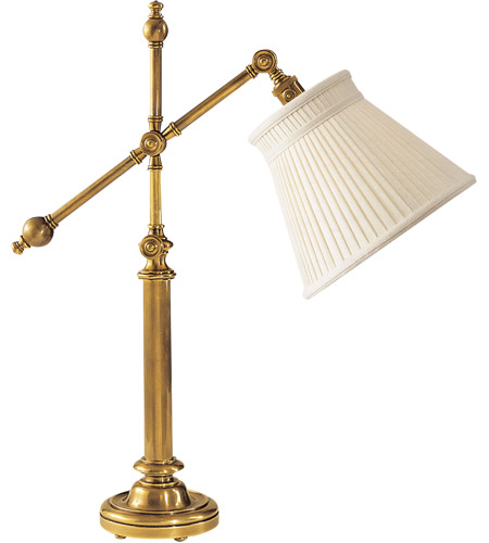 Visual Comfort CHA8150AB-LC E. F. Chapman Pimlico 25 inch 60 watt Antique-Burnished Brass Task Table Lamp Portable Light in Linen photo