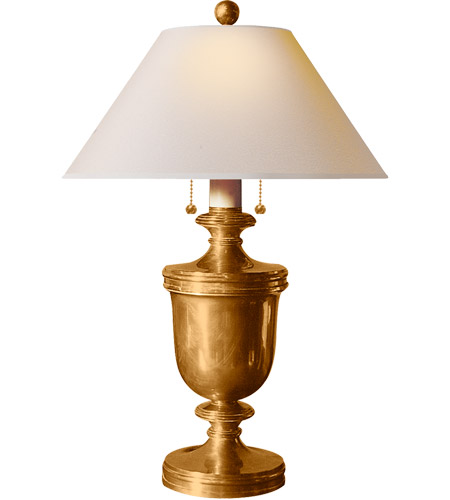 Visual Comfort CHA8172AB-NP E. F. Chapman Classical 24 inch 40 watt Antique-Burnished Brass Decorative Table Lamp Portable Light in Natural Paper photo