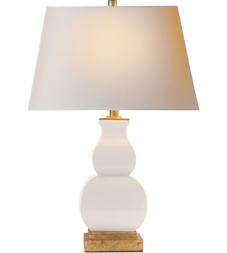 Perfect Visual Comfort CHA8627IC NP E. F. Chapman Fang Gourd 27 Inch 75 Watt Ivory  Crackle Ceramic Decorative Table Lamp Portable Light