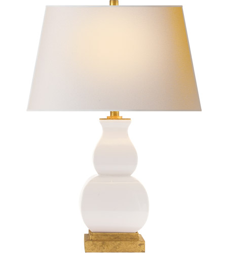 E F Chapman Fang Gourd 27 Inch, Ivory Ceramic Table Lamps