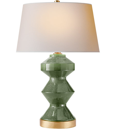 Visual Comfort CHA8666SHK-NP E. F. Chapman Weller Zig-zag 27 inch 150 watt Shellish Kiwi Table Lamp Portable Light, E.F. Chapman, Zig-Zag, Natural Paper Shade photo