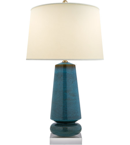 Visual Comfort CHA8670OSB-PL E. F. Chapman Parisienne 35 inch 150 watt Oslo Blue Table Lamp Portable Light, E.F. Chapman, Medium, Natural Percale Shade photo