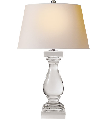 Visual Comfort CHA8924CG-NP E F Chapman Balustrade 27 inch 150 watt Crystal Decorative Table Lamp Portable Light in Natural Paper photo