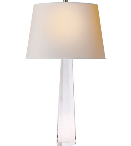 Visual Comfort E.F. Chapman Spire 1 Light Decorative Table Lamp in Crystal with Natural Paper Shade CHA8950CG-NP photo