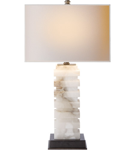 Visual Comfort Cha8960alb Np E F Chapman Stacked 24 Inch 75 Watt Alabaster Natural Stone Decorative Table Lamp Portable Light