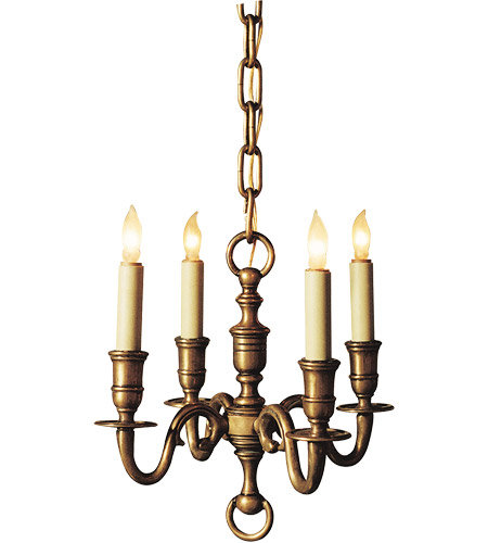 Visual Comfort E.F. Chapman English 4 Light Chandelier in Antique-Burnished Brass CHC1120AB photo