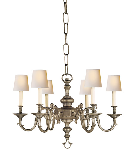 Visual Comfort CHC1131AN E. F. Chapman Georgian 6 Light 28 inch Antique  Nickel Chandelier Ceiling Light - Visual Comfort CHC1131AN E. F. Chapman Georgian 6 Light 28 Inch