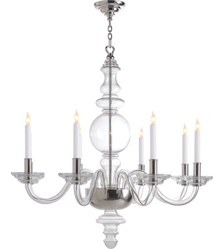 Visual Comfort E.F. Chapman George 8 Light Chandelier in Crystal with Polished Silver CHC1144CG photo