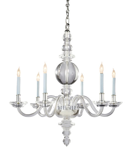 Visual Comfort E.F. Chapman George II 6 Light Chandelier in Crystal with Polished Silver CHC1154CG/PN photo