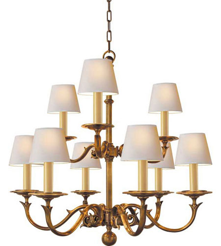 Visual Comfort CHC1172AB Chart House 9 Light 35 inch Antique Brass Chandelier Ceiling Light photo