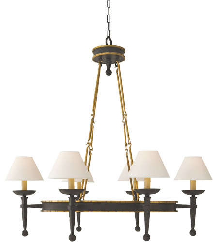 Visual Comfort E.F. Chapman Oval 6 Light Chandelier in Weathered Iron CHC1414WI photo
