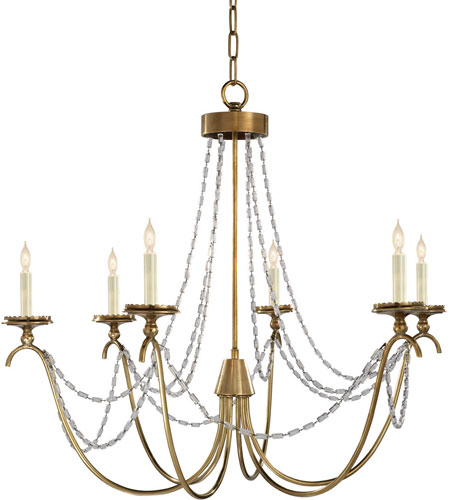 Visual Comfort E.F. Chapman Marigot 6 Light Chandelier in Antique-Burnished Brass CHC1415AB-SG photo