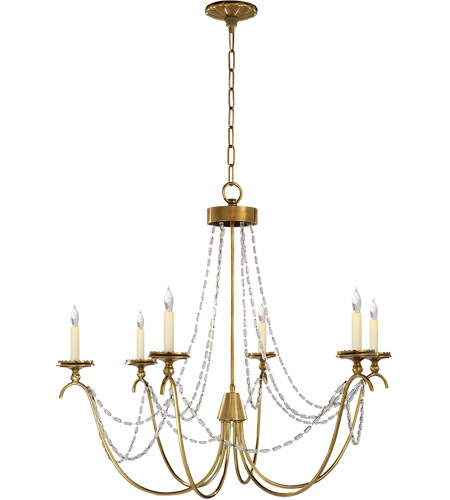 Visual Comfort CHC1415AB-SG E. F. Chapman Marigot 6 Light 33 inch Antique-Burnished Brass Chandelier Ceiling Light in Antique Burnished Brass, Seeded Glass photo