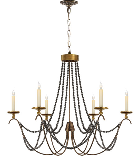Visual Comfort E.F. Chapman Marigot 6 Light Chandelier in Hand Painted Rust Finish CHC1415R photo