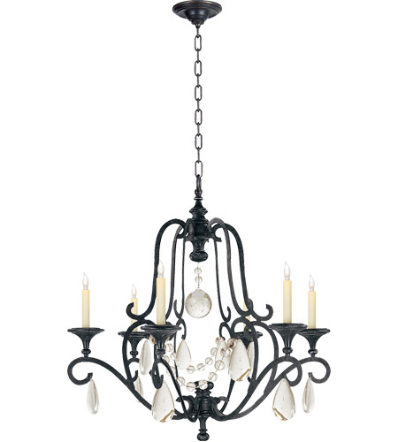 E F Chapman Piedmont 6 Light 32 Inch Aged Iron Chandelier Ceiling In Seeded Gl