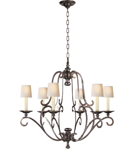 Visual Comfort CHC1420AN E. F. Chapman Piedmont 6 Light 32 inch Antique  Nickel Chandelier Ceiling Light in (None) - Visual Comfort CHC1420AN E. F. Chapman Piedmont 6 Light 32 Inch