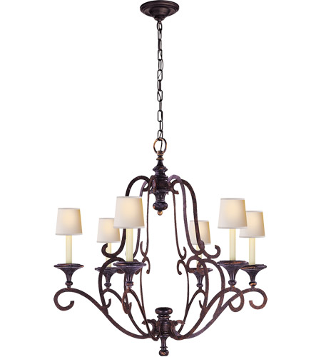 Visual Comfort E.F. Chapman Piedmont 6 Light Chandelier in Hand Painted Rust Finish CHC1420R photo