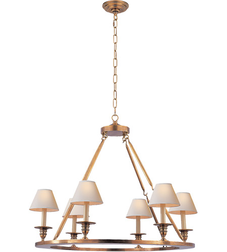 Visual Comfort CHC1443AB E.F. Chapman Round Flat Line 6 Light 32 inch Antique-Burnished Brass Chandelier Ceiling Light in Antique Burnished Brass  photo