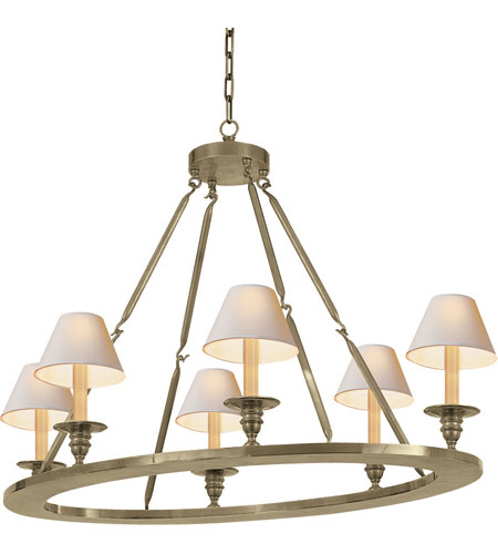 Visual Comfort CHC1444AN E.F. Chapman Oval 6 Light 36 inch Antique Nickel  Chandelier Ceiling Light - Visual Comfort CHC1444AN E.F. Chapman Oval 6 Light 36 Inch Antique