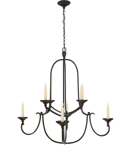 Visual Comfort E.F. Chapman Flemish 8 Light Chandelier in Aged Iron with Wax CHC1494AI photo