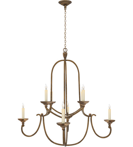 Visual Comfort CHC1494GI E. F. Chapman Flemish 8 Light 36 inch Gilded Iron Chandelier Ceiling Light photo