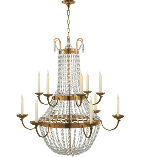 Visual Comfort CHC1508AB-SG E F Chapman Paris Flea Market 12 Light 40 inch Antique-Burnished Brass Chandelier Ceiling Light photo