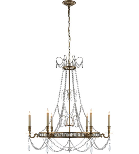 Visual Comfort CHC1547AB E. F. Chapman Belvoir 6 Light 35 inch Antique-Burnished Brass Chandelier Ceiling Light photo