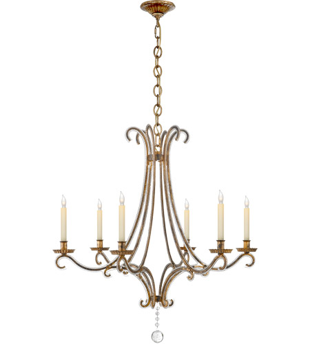 Visual Comfort Chc1550gi Cg E F Chapman Oslo 6 Light 33 Inch Gilded Iron With Wax Chandelier Ceiling