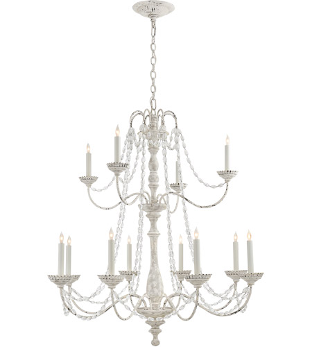 Visual Comfort CHC1560BW-SG E. F. Chapman Flanders 12 Light 40 inch Belgian White Chandelier Ceiling Light, Medium Two-Tier photo